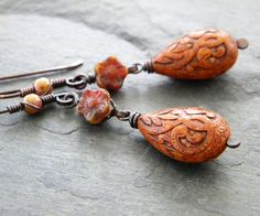 Burnt Orange Copper Earrings Czech Glass by dreambelledesign, $28.00