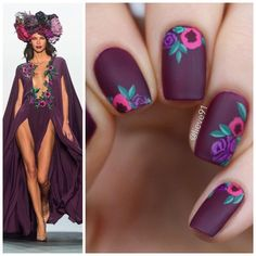 27 Elegant And Hip Designs For Matte Nail Polish - Are you ready to try matte nails? We have put together a gallery of our favorite trendy ideas for m - Get Nails, Matte Nails, Hair And Nails, Acrylic Nails, Gorgeous Nails, Pretty Nails, Flower Nail Art, Art Flowers, Purple Flowers