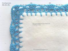Hekel Idees: Tutoriaal: Hoe om 'n randjie om te hekel. Crochet Borders, Crochet Blanket Patterns, Baby Blanket Crochet, Knitting Patterns Free, Crochet Stitches, Stitch Patterns, Free Pattern, Crochet Edgings, Crochet For Beginners