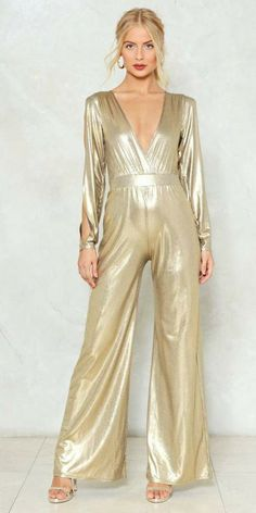 60702527827f Dripping in Gold Metallic Jumpsuit  women sclothesoutfits Prom Dresses  Under 100