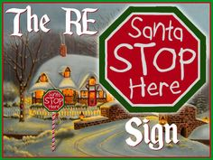 RE Santa Stop Here Sign Set - Sculpted Octagon w/Post - Christmas Decoration/Candy Cane
