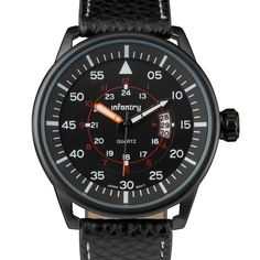 INFANTRY BLACK HUNTER with BLACK PU STRAP (IN-085-BLK-BL) – infantryco-timepieces