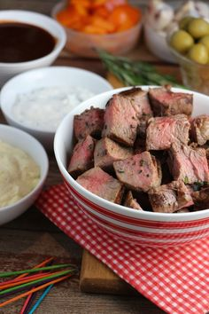 Beef Steak Dippables Recipe by Canadian Beef Horseradish Dip, Prepared Horseradish, Marinated Mushrooms, Stuffed Mushrooms, Stuffed Peppers, How To Grill Steak, Beef Steak, Dip Recipes, Party Recipes