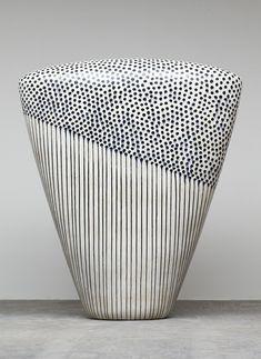 Jun Kaneko, Dango 08-10-07, 2008, Glazed Ceramic, 83 x 65 x 24 in. (210.8 x 165.1 x 61 cm)   black white dots stripes ceramics sculpture art