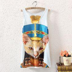 NEW WOMEN SLEEVELESS EGYPT CAT GRAPHIC PRINTED T SHIRT TEE VEST BLOUSE TANK TOPS