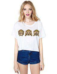 Ninimour-Sexy Femmes Emoji T-Shirt Motif Imprime Fleuri Manches Courtes Vogue en Ete