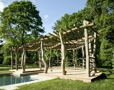 Rustic pergolas, crafted from driftwood