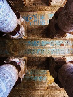 Looking up at the ornamented ceiling in an Egyptian temple.  Love the columns.