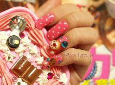Japanese nail art lolita cherry pie on pink polka dots by Aya1gou, $17.50