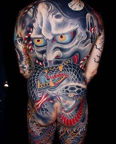 Japanese back tattoo by @mikerubendall.  #japaneseink #japanesetattoo #irezumi #tebori #colortattoo #colorfultattoo #cooltattoo #largetattoo #backtattoo #hannya #hannyatattoo #snaketattoo #lightningtattoo #wavetattoo #naturetattoo
