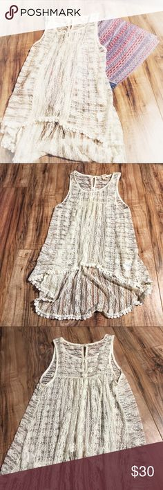 EUC Painted Threads Lace tunic high low top small Excellent used condition. Looks amazing with the Hester & Orchard pants I have listed separately in my closet. Will look adorable with a tank top or cute bralette! Perfect for Coachella!! painted threads Tops Tank Tops