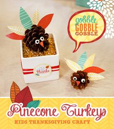 Kids Thanksgiving Craft: Colorful Pinecone Turkeys - Hostess with the Mostess™