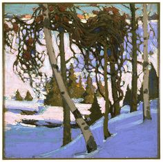 "Tom Thomson, Early Snow, 1916 From the Winnipeg Art Gallery: "" Tom Thomson was a close and influential colleague of the Group of Seven. He often guided Group members through Ontario's Algonquin Park. Group Of Seven Artists, Group Of Seven Paintings, Paintings I Love, Emily Carr, Winter Landscape, Landscape Art, Landscape Paintings, Canadian Painters, Canadian Artists"