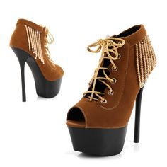 #weenfahsion High Platform Pumps Heels Brown