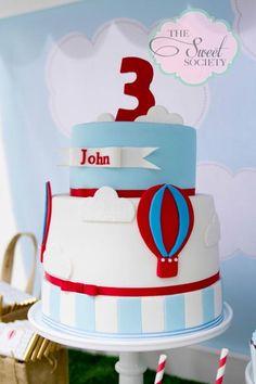 Cake at a Vintage Hot Air Balloon Party #hotairballoon #party