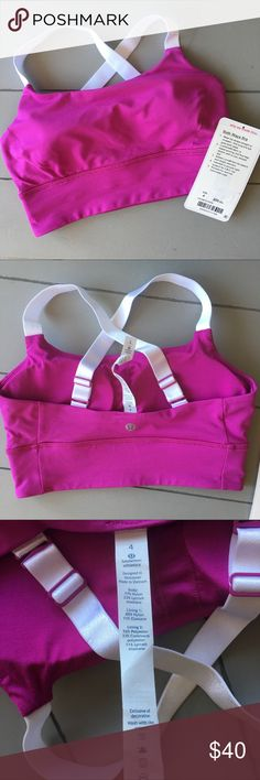 Lululemon Both Ways Bra, size 4 Purple with white straps. You can wear the straps two ways, crossed or straight. It is in perfect brand new condition! I took the tags off and wore it ONE time for an hour and decided it was too tight, so I'm selling so I can get a bigger size!  Hand washed in cold water and hung to dry one time to ready for selling. Cup inserts included! lululemon athletica Intimates & Sleepwear Bras