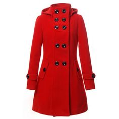 Lanhuacao Women Wool Blends Coat Trench Hooded Coat Long Jacket... ($70) ❤ liked on Polyvore