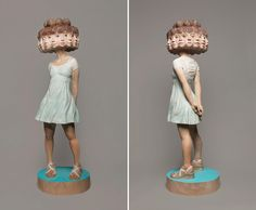 New Glitched Sculptures of Women Chiseled from Wood by Yoshitoshi Kanemaki