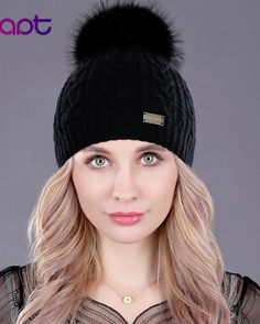 6c373c519d343b Adrien's Shop - Soft cashmere women's knited winter cap skullies beanies  fur pom pom hats Fur