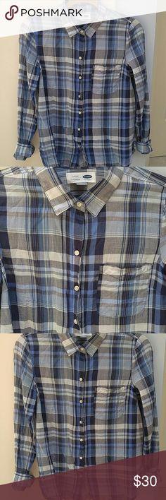 NWOT OLD NAVY PLAID BUTTON UP NWOT Classic size small Old Navy Blue Plaid Button-up Blouse. Spread collar, long sleeves with buttoned cuffs, patch pocket at chest, 7 button placket, curved dolphin hem, soft, lightweight semi-sheer cotton gauze. shirt hits below waist.  *If you purchase ANY 2+ ITEMS from my closet, add them to a bundle and RECEIVE 10% OFF entire purchase!! PLUS...you ONLY PAY 1 Shipping Price!! Fast shipper!!! Old Navy Tops Blouses