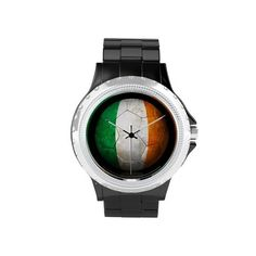 Worn Irish Flag Football Soccer Ball Wrist Watches ($63) ❤ liked on Polyvore featuring jewelry, watches, ball watches and ball jewelry