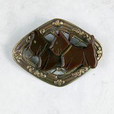Vintage Brown Bakelite and Bronze OOAK Scottie Brooch by gibscot