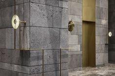 Jiai Interior Design (Shanghai) Co. Marble Wall, Marble Tiles, Interior Walls, Interior Design Living Room, Interior Ideas, Catering Design, Hotel Corridor, Elevator Lobby, Lobby Design