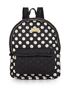 Betsey Johnson Tie The Knot Polka Dot Backpack - Black - Cream - Size