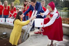 Princess Viktoria de Bourbon de Parme with children from Kinderboom school in theme park De Efteling in Kaatsheuvel, The Netherlands on April 13, 2015. (Visitors of the park the Wishing Well with coins and do a wish. Proceeds is for Save the Children, an organization that promotes children's rights. Princess Viktoria became the patrons of Save the Children. She is the wife of Prince Jaime, cousin of King Willem-Alexander)