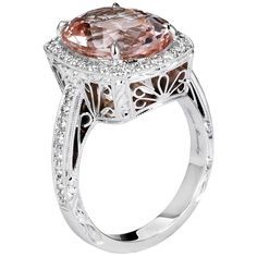 Beaudry Oval Morganite Cushion Pavé Ring