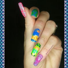 Hello loves! Here is my #Hawaiian (my kids think it looks more Mexican!!) mani for #clairestelle8august ! I used @bundlemonster Polynesia BM XL114 @b.lovesplates Colour Alike polishes in Sunset and Sunshine @barrymcosmetics Damson @modelsownofficial Luis Lemon Purple Bandana Pink Wellies @mundodeunas Neon Pink Neon Blue Mint Lemon Tree and top coated with @truebritlondon Gloss Top Coat!! I think that's everything lol!!   Hope you like them and thank you so much for all your sweet messages…