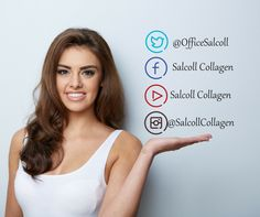 "Follow and like us on social media & keep up with the ""skinside"" scoop on all things Salcoll Collagen."