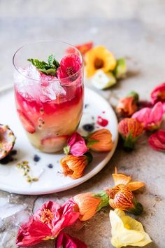 Tropical Strawberry Hibiscus Rum Splash - signature cocktail idea for a bright wedding!