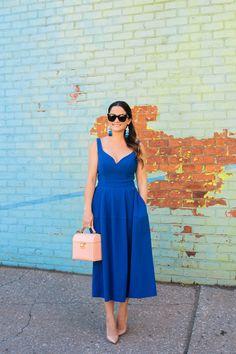Cobalt Blue Fit and Flare Midi Dress in Brooklyn