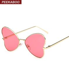 Peekaboo new butterfly sunglasses women fashion glasses metal designer pink yellow gold tinted sunglasses cheap female PARTY