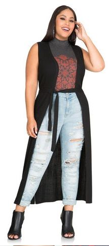 Plus Size Open Front Long Duster Cardigan