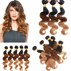"Hot Brazilian Ombre human HAIR EXTENSION 26""28""30"" Body wave 50g/Bundles 3pcs US #wigiss #HairExtension"