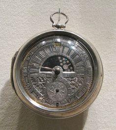 Watchmaker: Jacob Hasluck.   Maker: Case maker: Marcus Bellanger Date: ca. 1695 Culture: Dutch. Medium: Outer and inner case: silver; Dial: silver, gilded brass
