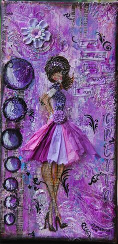 """Gretta"" Mixed media girl on canvas 6x12 by Bette Brody Available for sale in my etsy shop: <a href=""http://www.etsy.com/shop/BettesCreations"" rel=""nofollow"" target=""_blank"">www.etsy.com/...</a>"