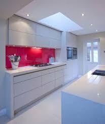 Image result for white kitchen with red splashback