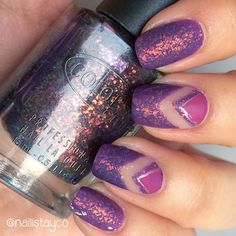 """""""Hi ladies!  I made this mani with the stunning #TheUptown by Color Club  I applied it over X-Ta-Sea by China Glaze and made the negative space…"""""""