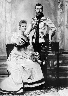 Tsar Nicholas, in hussar uniform, and Princess Alix of Hesse (later Alexandra Feodorovna) in their official engagement portrait. Photograph by Sergei Lvovich Levitsky. Alexandra Feodorovna, Anastasia, Thurn Und Taxis, Otto Von Bismarck, Hesse, House Of Romanov, Tsar Nicholas, Imperial Russia, Kaiser