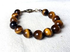 Tiger Eye Hand Knotted Bracelet Brown Beaded by CITBhandmade
