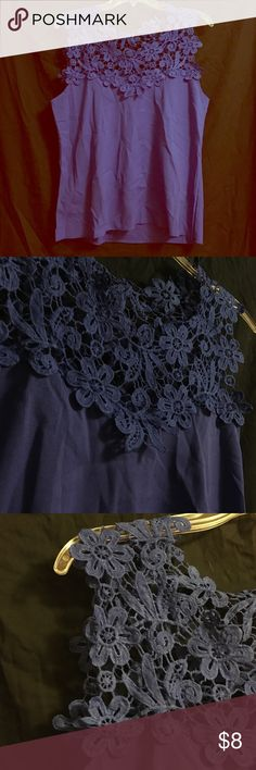 🎉 EOS SALE! 🎉 lacy tank blouse (Bought on Wish.) Never worn, didn't fit. This shirt is gorgeous + all the color of Royal Blue! It is 100% Rayon. The top part is cute laced flowers. Labeled XL, but will fit a S, maybe M! 💖 Tops Blouses