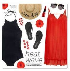 """Keeping Cool in a Heat Wave"" by lgb321 ❤ liked on Polyvore featuring J.Crew, River Island, Giorgio Armani, Jennifer Behr, Tkees, Eugenia Kim, Illesteva, Summer, redandblack and polyvoreeditorial"