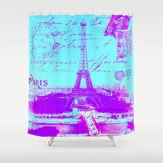 Paris vintage Shower Curtain #vintage,#Paris,#blue,#purple