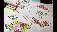 drawing beginners easy flower colorful doodle cards floral frames doodles tutorial drawings calligraphy watercolor pen painting