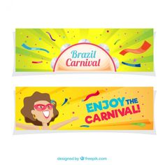 Colorful brazilian carnival banners in flat design Free Vector