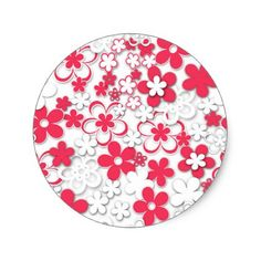 7 inch coral flowered paper plate flower paper red and white paper flowers classic round sticker pattern sample design template diy cyo customize mightylinksfo