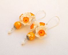 #Narcissus  Flower #earrings  Dangle earrings  by #insoujewelry